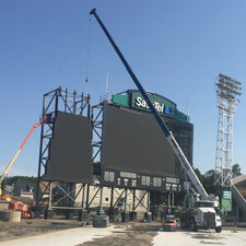 Crane Helping Construct Scoreboard
